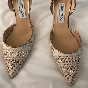 Jimmy Choo Addison d'Orsay woven fabric leather